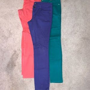 Bundle of Coral, Purple and Green Jeans